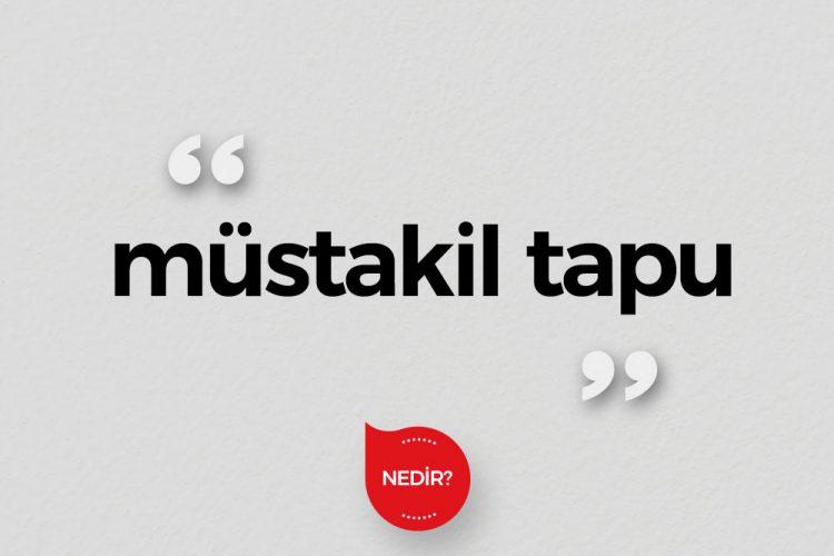 Müstakil Tapu